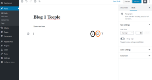 Screenshot of a blog post, circled to point out the insert audio and insert image buttons
